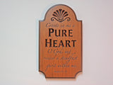 Carved Cherry Plaque - Create in me a Pure Heart