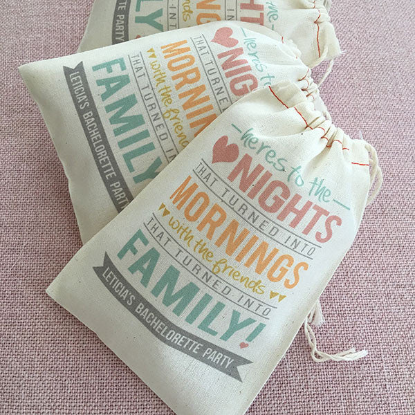 Here's to the Nights Muslin Bags