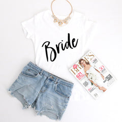 300c5b9fe93b4 Bride Fancy Script - V-Neck Tee – Three Two One - Counting Down to ...