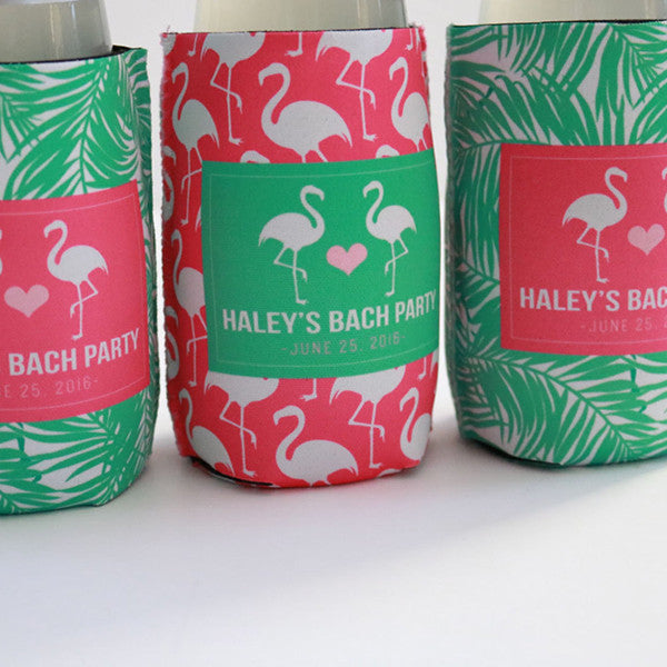 Flamingo Palm Tree Leaves Can or Bottle Koozie