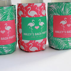 Koozie - Flamingo and Palm Tree Leaves Can or Bottle Insulator