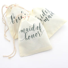 Maid of Honor Favor Bags - Fancy Script