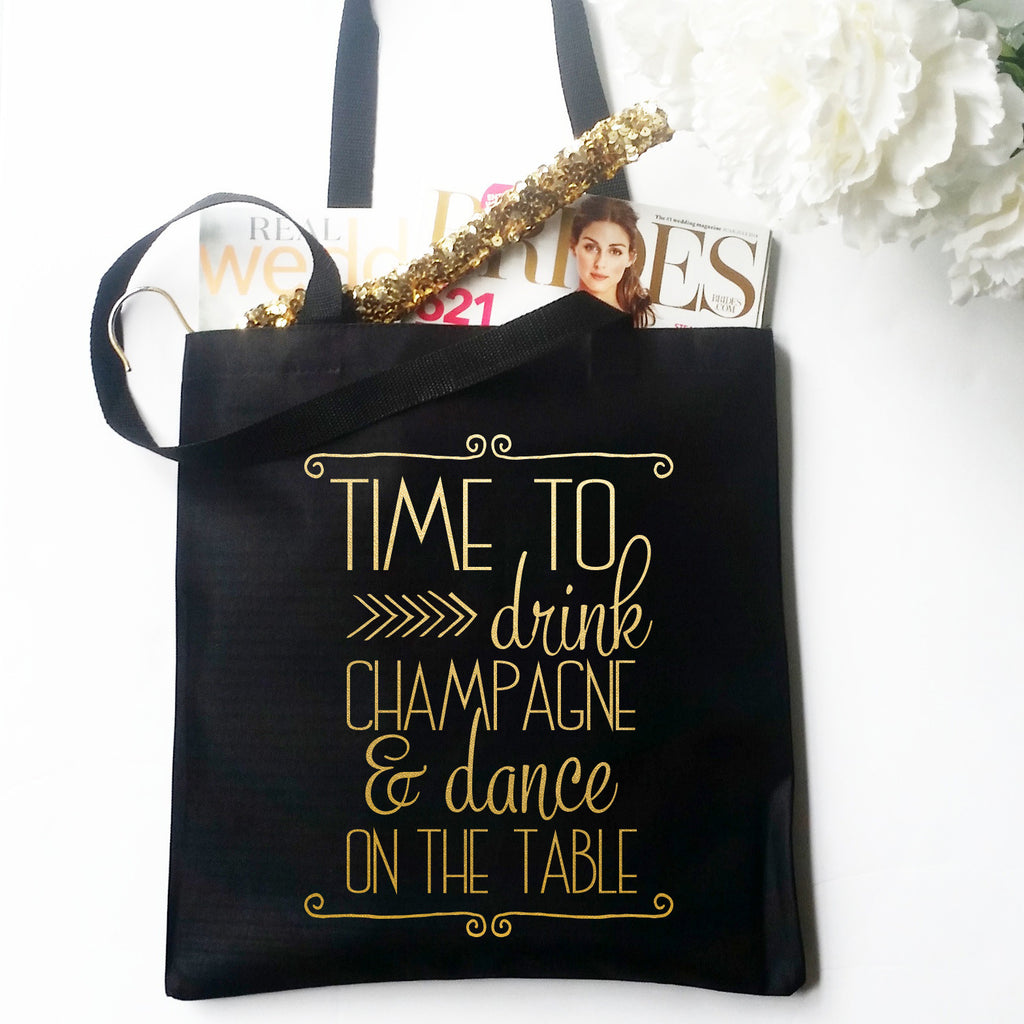 Time to Drink Champagne Metallic Gold Tote Bag