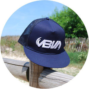 navy blue snapback trucker hat with breathable mesh for your head