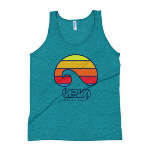 Layered Waves Tri-Evergreen Unisex Tank Top