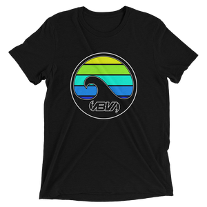 Black Layered Waves Short Sleeve Tri-blend T-shirt