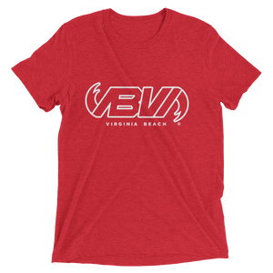 RED WAVELINE SHORT SLEEVE TRI-BLEND T-SHIRT