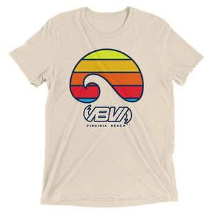 Oatmeal Layered Waves short sleeve tri-blend t-shirt