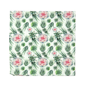 Agave Pocket Square. White background with pink and green succulents across the fabric.