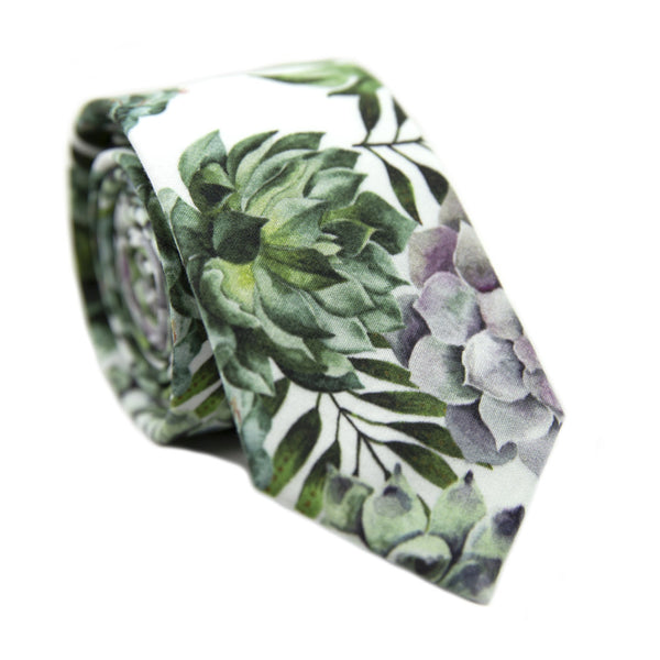 Aloe Skinny Tie. White background with big green succulents and leaves, and also purple succulents.