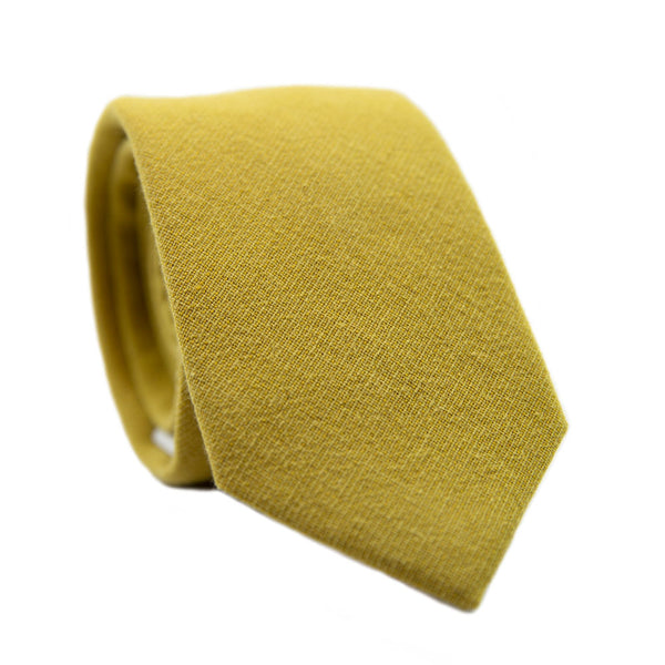 Amber Skinny Tie. Solid mustard/yellow textured fabric.