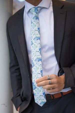 Arctic Ice tie worn with a white shirt and black suit.
