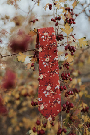 Autumn tie hanging from a tree branch.