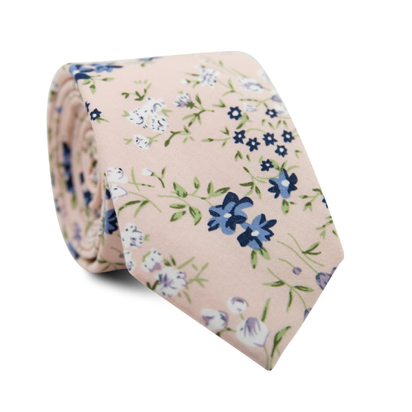 Babys Breath Skinny Tie. Blush background with blue, white and lavender flowers, with green leaves and stems.
