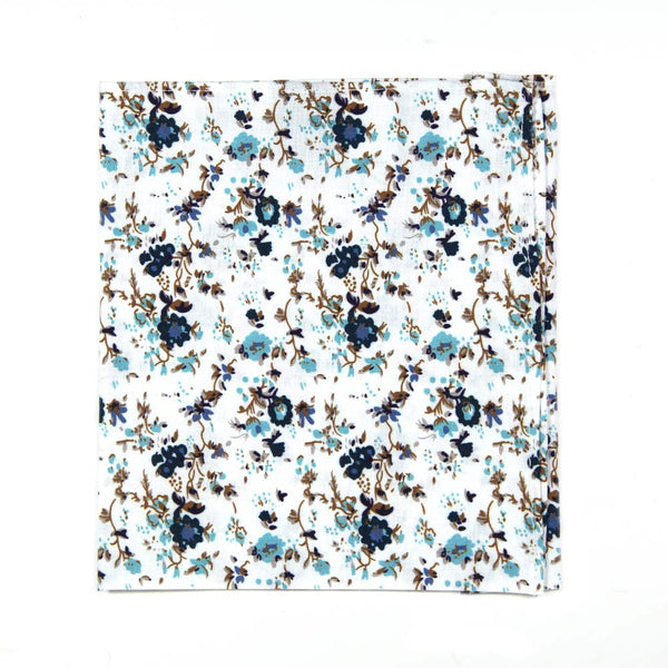 Blue Bloom Pocket Square