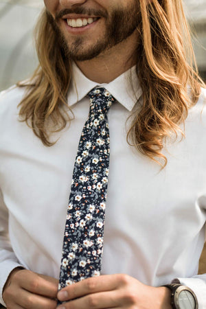 Blueberry Bliss tie worn with white shirt.