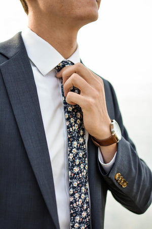 Blueberry Bliss tie worn with white shirt and navy suit jacket.