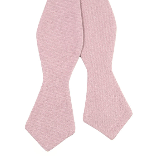 Blush Self Tie Bow Tie. Solid blush pink textured fabric.