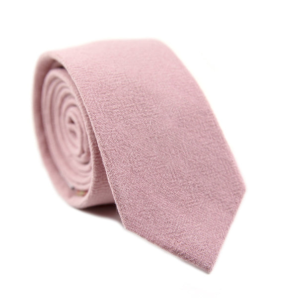 Blush Skinny Tie. Solid blush pink textured fabric.