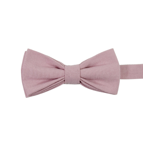 Blush Pre-Tied Bow Tie. Solid blush pink textured fabric.