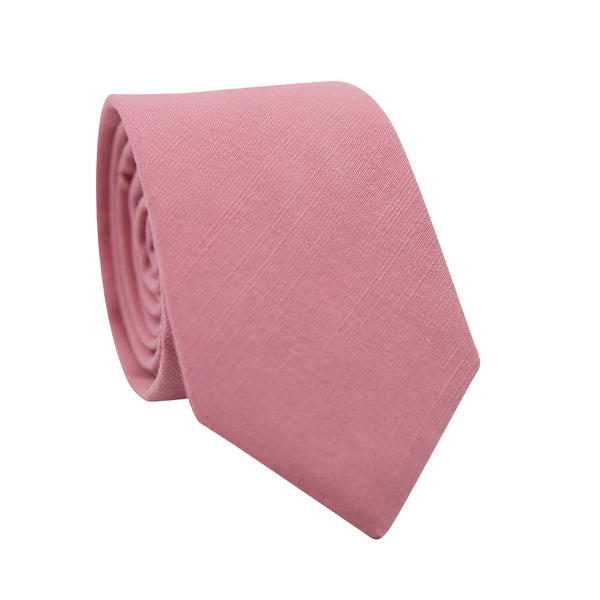 Bubblegum Skinny Tie. Solid pink textured fabric.