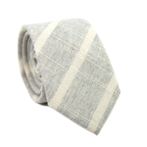 Camarillo Skinny Tie. Textured heather gray with thin white diagonal stripes.