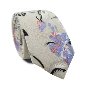 Carnation Skinny Tie. Tan textured background with lavender and pink flowers, black stems, and tan and gray leaves.