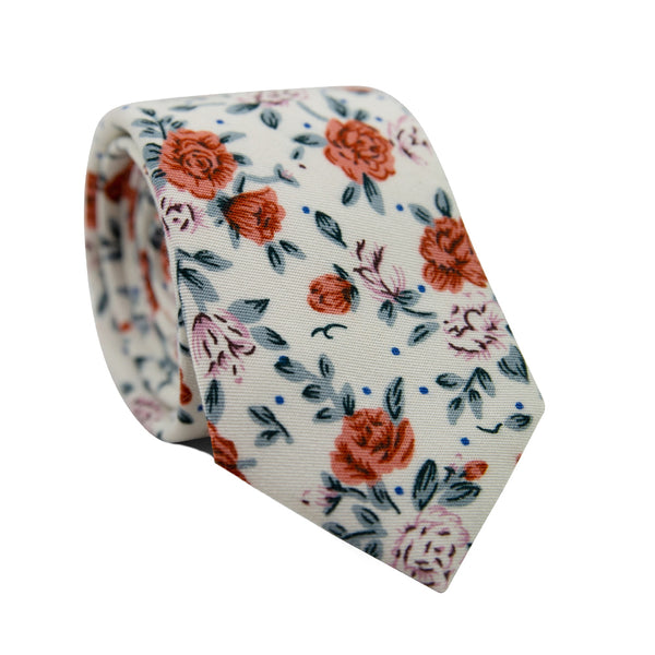 Citrus Skinny Tie. Off white background with pink and orange flowers and light gray leaves throughout.