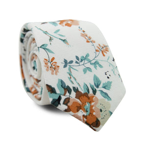 Copper Blooms Skinny Tie. White background with gold and orange flowers, green vines and leaves.