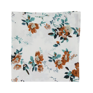 Copper Blooms Pocket Square. White background with gold and orange flowers, green vines and leaves.