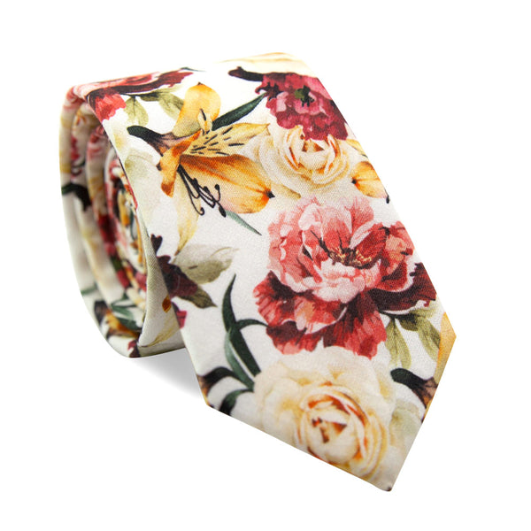 Coral Void Skinny Tie. White background with ivory, maroon and gold flowers and green stems and leaves.