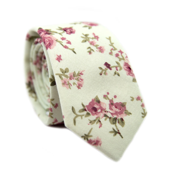 Date Night Skinny Tie. Cream background with pink and mauve flowers and green stems and leaves.