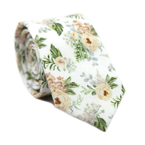 Desert Sun Skinny Tie. White background with round yellow flowers, green and silver leaves.