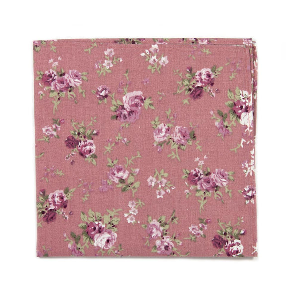 Desire Pocket Square. Pink background with blush, mauve and white flowers, and green stems and leaves.