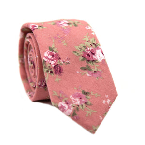Desire Skinny Tie. Pink background with blush, mauve and white flowers, and green stems and leaves.