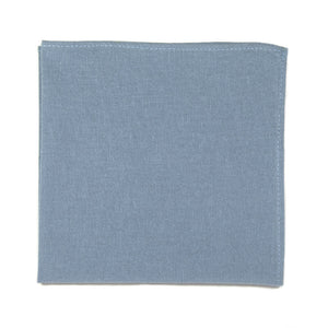 Dusty Pocket Square. Solid light blue textured fabric.
