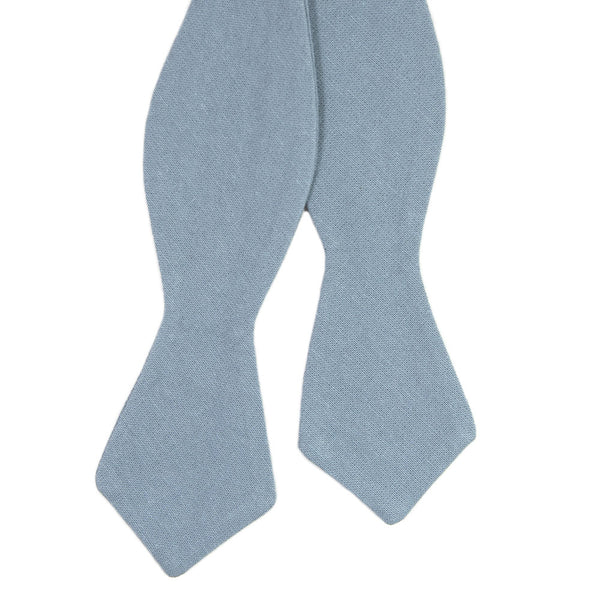 Dusty Self Tie Bow Tie. Solid light blue textured fabric.