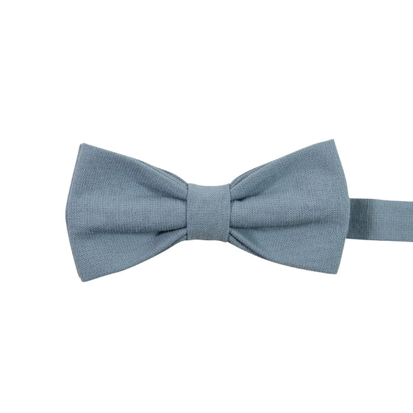 Dusty Pre-Tied Bow Tie. Solid light blue textured fabric.