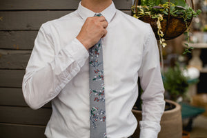 Fall Escape tie worn with white shirt.