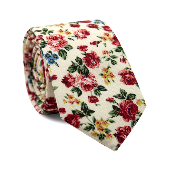 Fiore Skinny Tie. Cream background with maroon, yellow and blue flowers with green leaves.