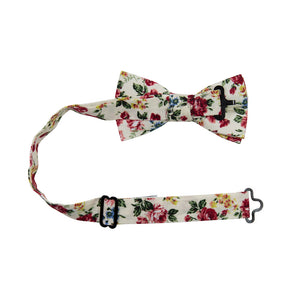 Fiore Pre-Tied Bow Tie with adjustable neck strap. Cream background with maroon, yellow and blue flowers with green leaves.