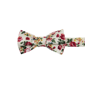 Fiore Pre-Tied Bow Tie. Cream background with maroon, yellow and blue flowers with green leaves.
