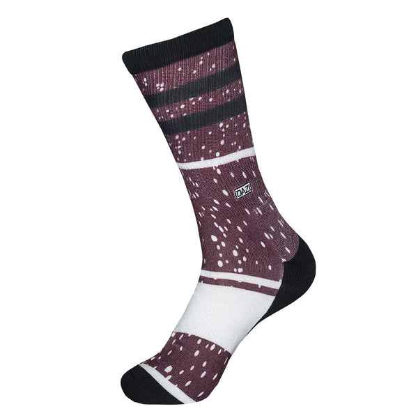 DAZI Florence Socks. Burgundy with white spots and white and black stripes.