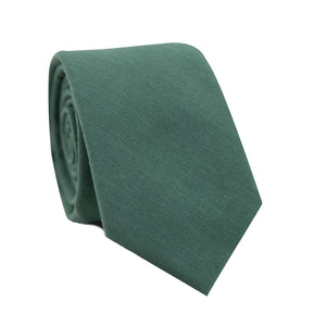 Forest Skinny Tie. Solid forest green textured fabric.