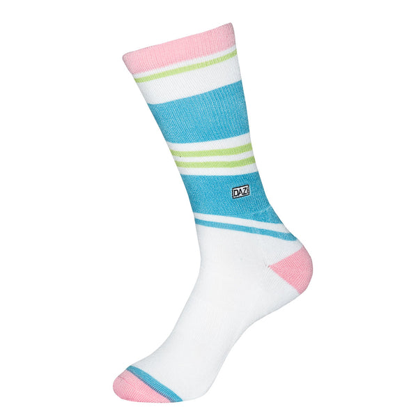 Fresh Prints Socks. White with stripes of light blue, light green and pink.