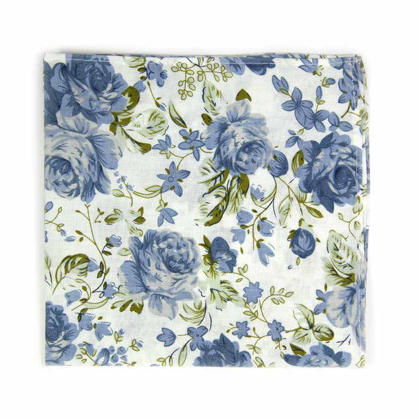 Frisco Pocket Square. White background with small and medium size light blue flowers and sage green leaves.