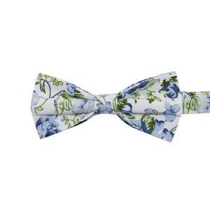 Frisco Pre-Tied Bow Tie. White background with small and medium size light blue flowers and sage green leaves.