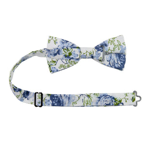 Frisco Pre-Tied Bow Tie with adjustable neck strap. White background with small and medium size light blue flowers and sage green leaves.