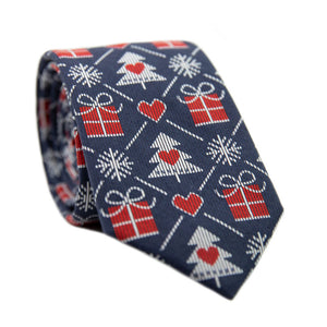 Gifted Skinny Tie. Navy background with red and white presents, trees and hearts lined across the tie.