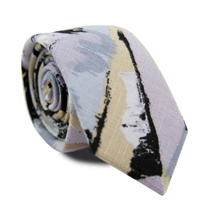 Graffiti Skinny Tie. Blue, tan, black and lavender purple abstract design.